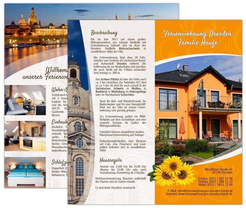 FeWo Familie Haufe Dresden - Flyer DIN lang