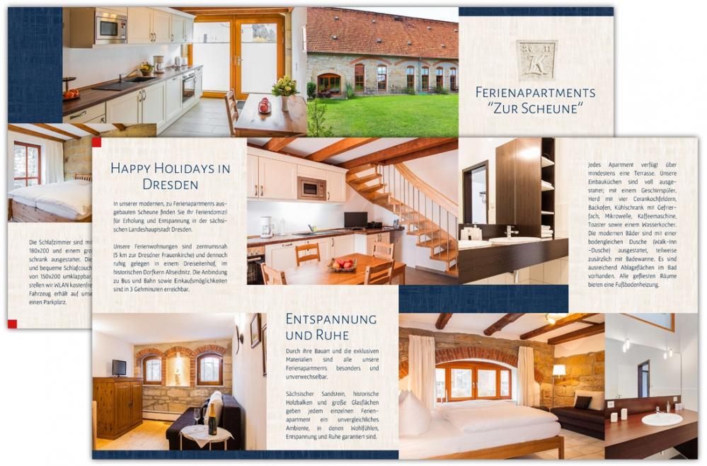 Ferienapartments zur Scheune Dresden - Flyer DIN lang