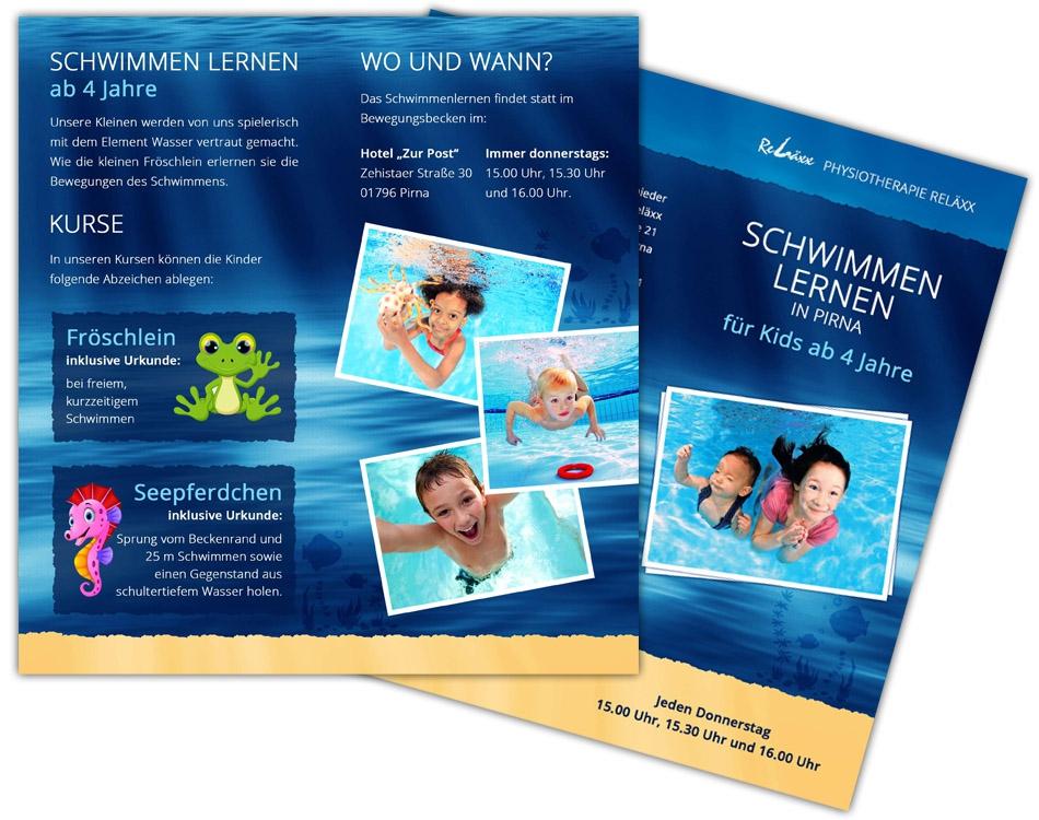 Babyschwimmen Pirna - Faltblatt DIN lang - Unterwasserfotos © www.H2OFoto.de