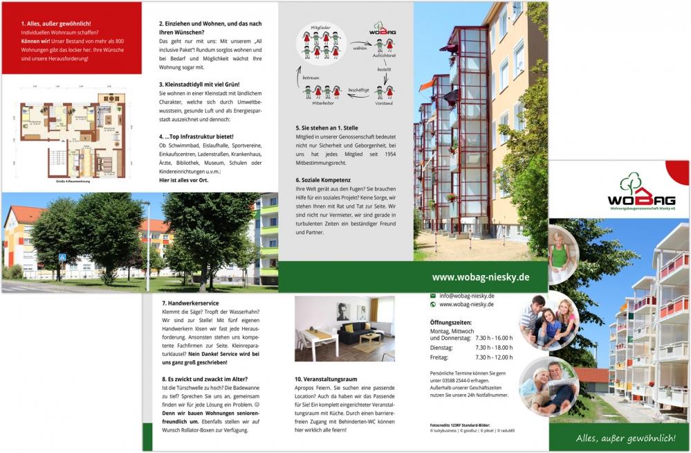 WOBAG Niesky eG - Faltblatt DIN lang - 8-seitig