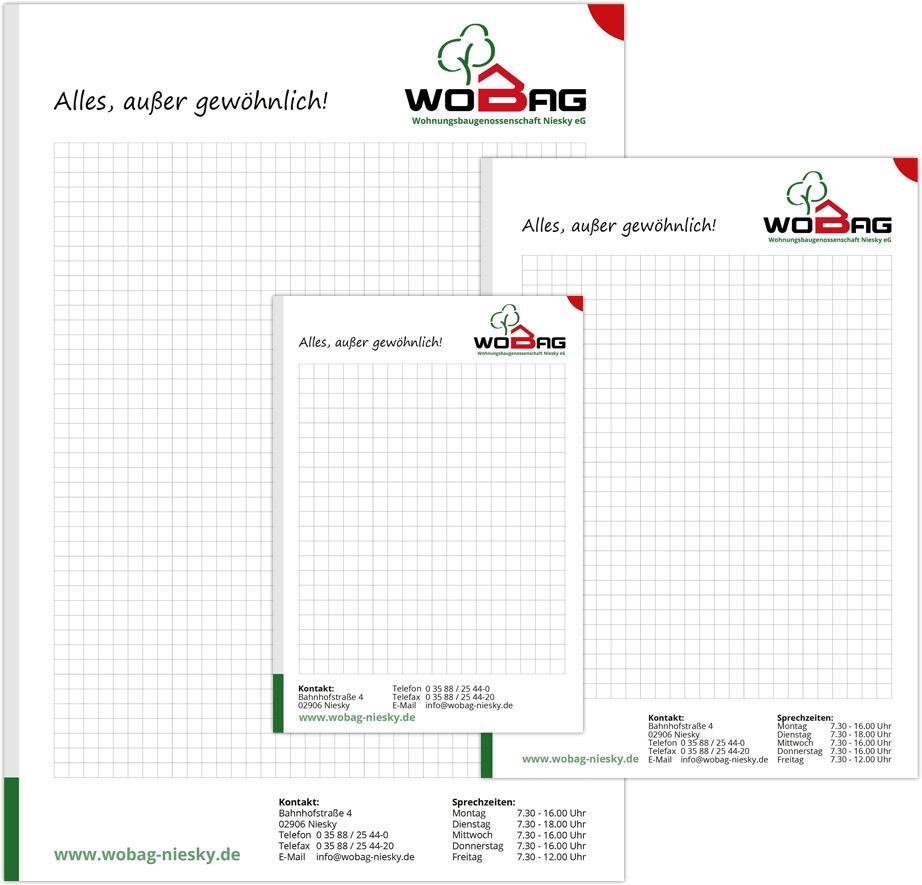WOBAG Niesky eG - Blöcke mit Werbedruck A4, A5, A6