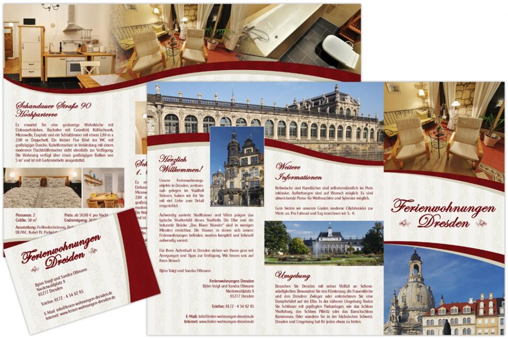 Ferienwohnungen Dresden Familie Voigt - Faltblatt DIN lang 6-seiter