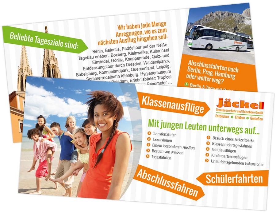 Jäckel Omnibusverkehr und Reisebüro GmbH - Flyer DIN lang